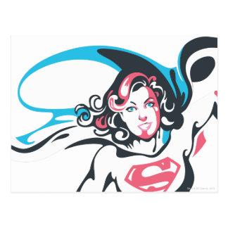 Actitud 2 del chapoteo del color de Supergirl Tarjetas Postales