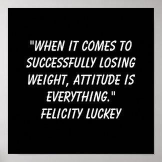Actitud 3 de la pérdida de peso póster