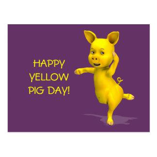 Actitud amarilla del cerdo tarjeta postal