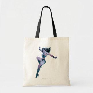 Actitud colorida de la Mujer Maravilla Bolsa Lienzo