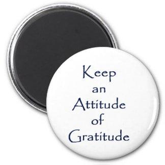 Actitud de la gratitud imán redondo 5 cm