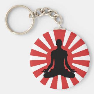 Actitud de la meditación de la yoga 4 del sol naci llavero redondo tipo pin
