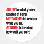 actitud de la motivación de la capacidad etiquetas redondas