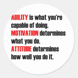 actitud de la motivación de la capacidad pegatina redonda