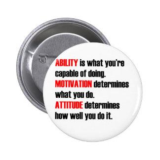 actitud de la motivación de la capacidad pin redondo de 2 pulgadas