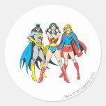 Actitud de los Superheroines Etiquetas Redondas
