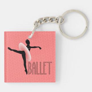 Actitud del ballet llavero cuadrado acrílico a doble cara
