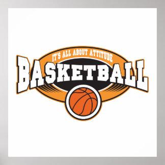 Actitud del baloncesto póster