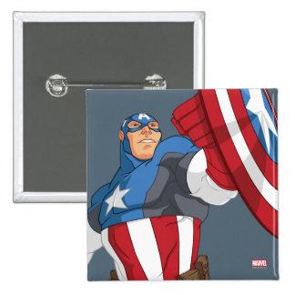 Actitud del carácter de capitán América del dibujo Pin Cuadrado