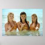Actitud del grupo en agua póster