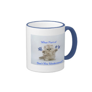 Actitud del maullido de los gatitos taza de dos colores
