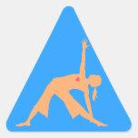 Actitud del triángulo de la yoga pegatina triangular