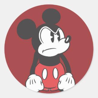 Actitud enojada clásica de Mickey el | Pegatina Redonda