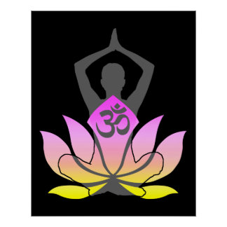 Actitud espiritual de la yoga de la flor de OM Póster