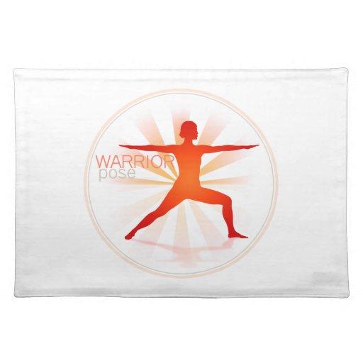 Actitud Placemat (actitud de la yoga del guerrero) Mantel