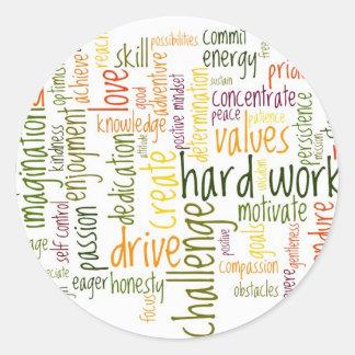 Actitud positiva de motivación de las palabras #2 pegatina redonda