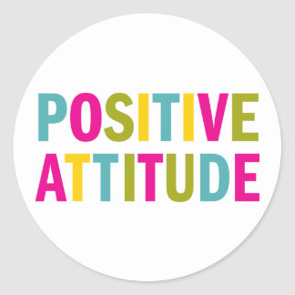 Actitud positiva en colores brillantes pegatina redonda
