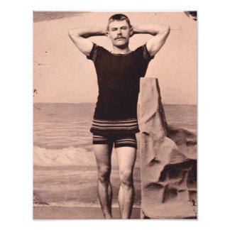 Actitudes del hombre en el traje de baño 1890 impresión fotográfica
