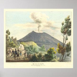 Active de Vesuvio Nápoles 1832 Italia Póster