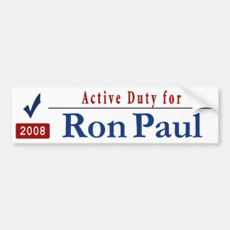 Active Duty for Ron Paul Car Bumper Sticker