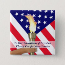 Active Duty Military or Retired Veterans Thank You Pinback Button