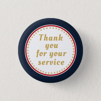 Active Duty Retired Military Police Fire Thank You Pinback Button