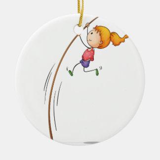 Active kid ceramic ornament