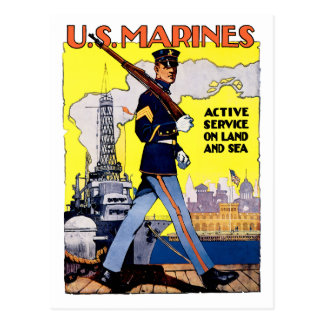 Active Service on Land and Sea Postcard