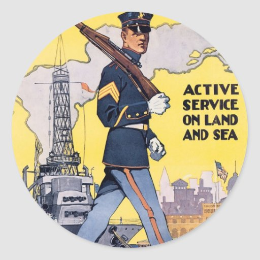 Active Service on Land and Sea Round Sticker