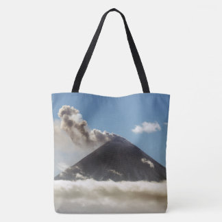Active volcano plume gas, steam, ash from crater tote bag