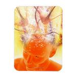 Actividad cerebral, ilustraciones conceptuales del iman rectangular