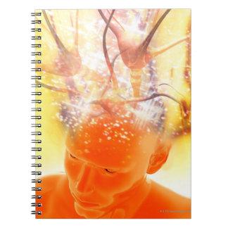 Actividad cerebral, ilustraciones conceptuales del note book