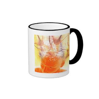 Actividad cerebral, ilustraciones conceptuales del taza de café