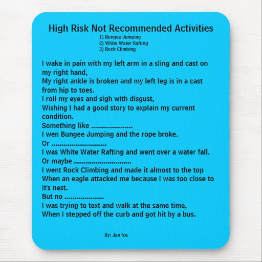 Actividades no recomendadas de riesgo elevado alfombrilla de ratón
