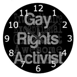 Activista de los derechos de los homosexuales reloj redondo grande