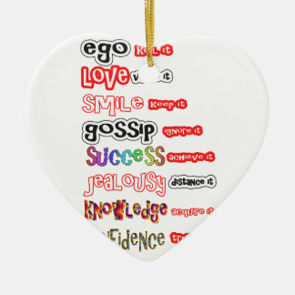 Activos positivos y responsabilidades negativas adorno navideño de cerámica en forma de corazón