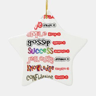 Activos positivos y responsabilidades negativas adorno navideño de cerámica en forma de estrella