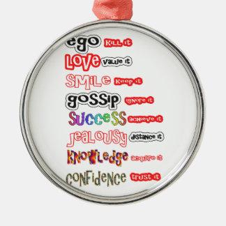 Activos positivos y responsabilidades negativas adorno navideño redondo de metal