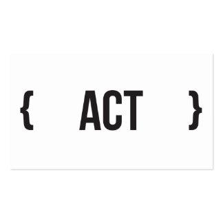 Acto - acorchetado - blanco y negro tarjetas de visita