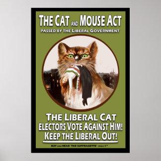 Acto británico del gato y del ratón del Suffragett Póster