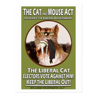 Acto británico del gato y del ratón del Suffragett Tarjeta Postal