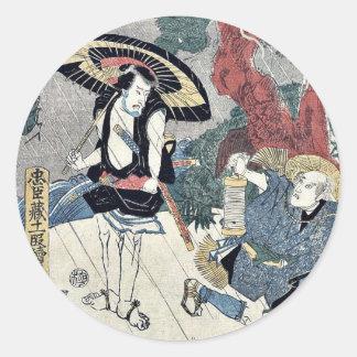 Acto cinco del Chushingura por Utagawa, Kuniyasu Pegatina Redonda