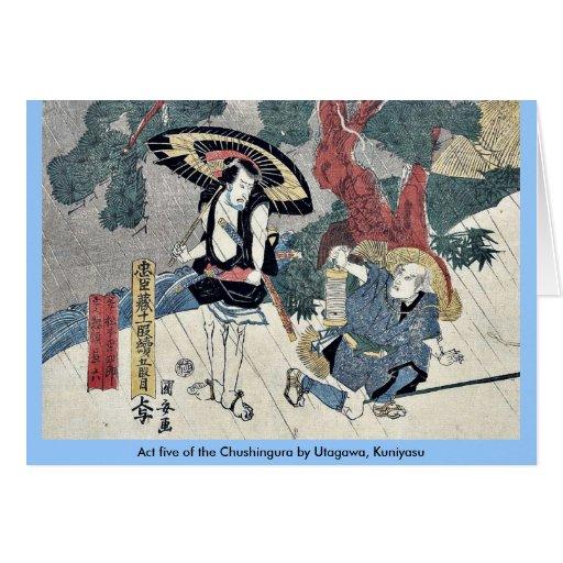Acto cinco del Chushingura por Utagawa, Kuniyasu Tarjetón