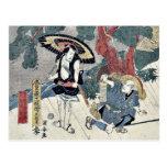 Acto cinco del Chushingura por Utagawa, Kuniyasu Tarjetas Postales