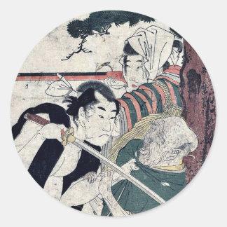 Acto cinco por Kitagawa, Utamaro Ukiyoe Etiqueta Redonda