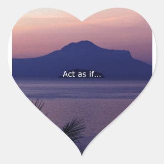Acto como si…. pegatina en forma de corazón