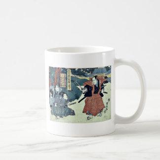 Acto cuatro del Chushingura por Utagawa, Kuniyasu Tazas De Café