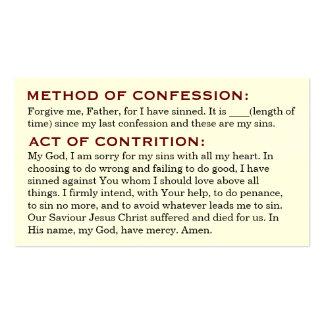 Acto de la contrición y estudio de las tarjetas de tarjetas de visita
