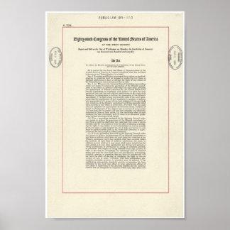 Acto de los derechos al voto póster