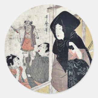 Acto diez del Chushingura por Kitagawa, Utamaro Etiqueta Redonda